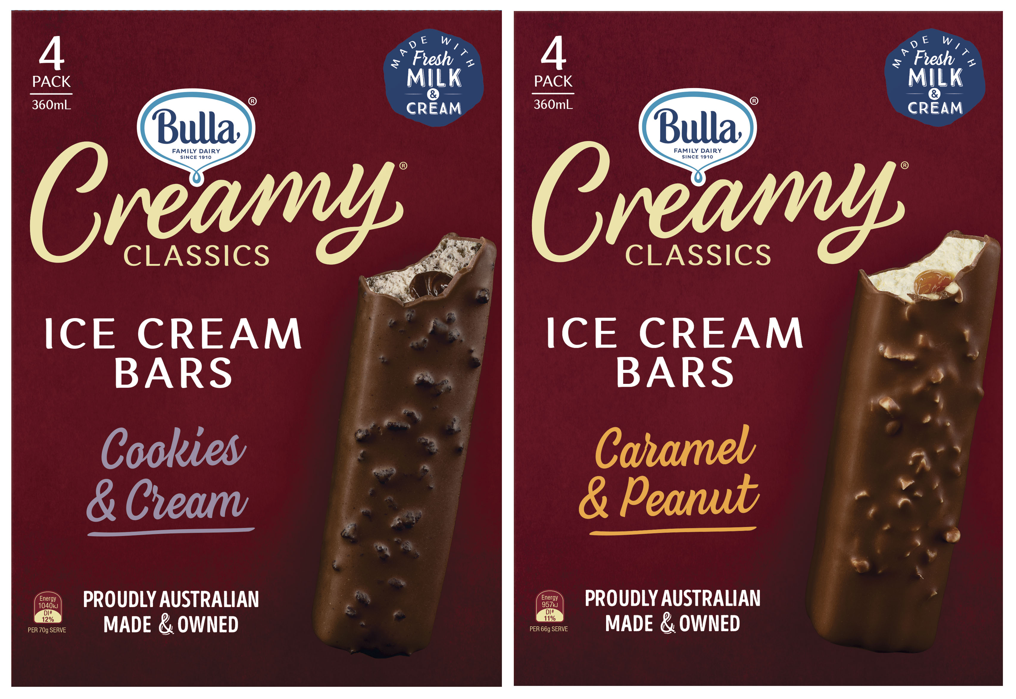 Bulla Creamy Classics Bars FMCG Packaging Food styling