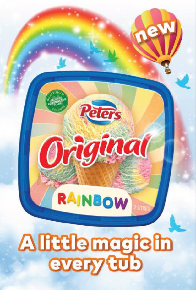 Peters Rainbow Ice Cream Tub, FMCG, Advertising, Packaging, Food styling