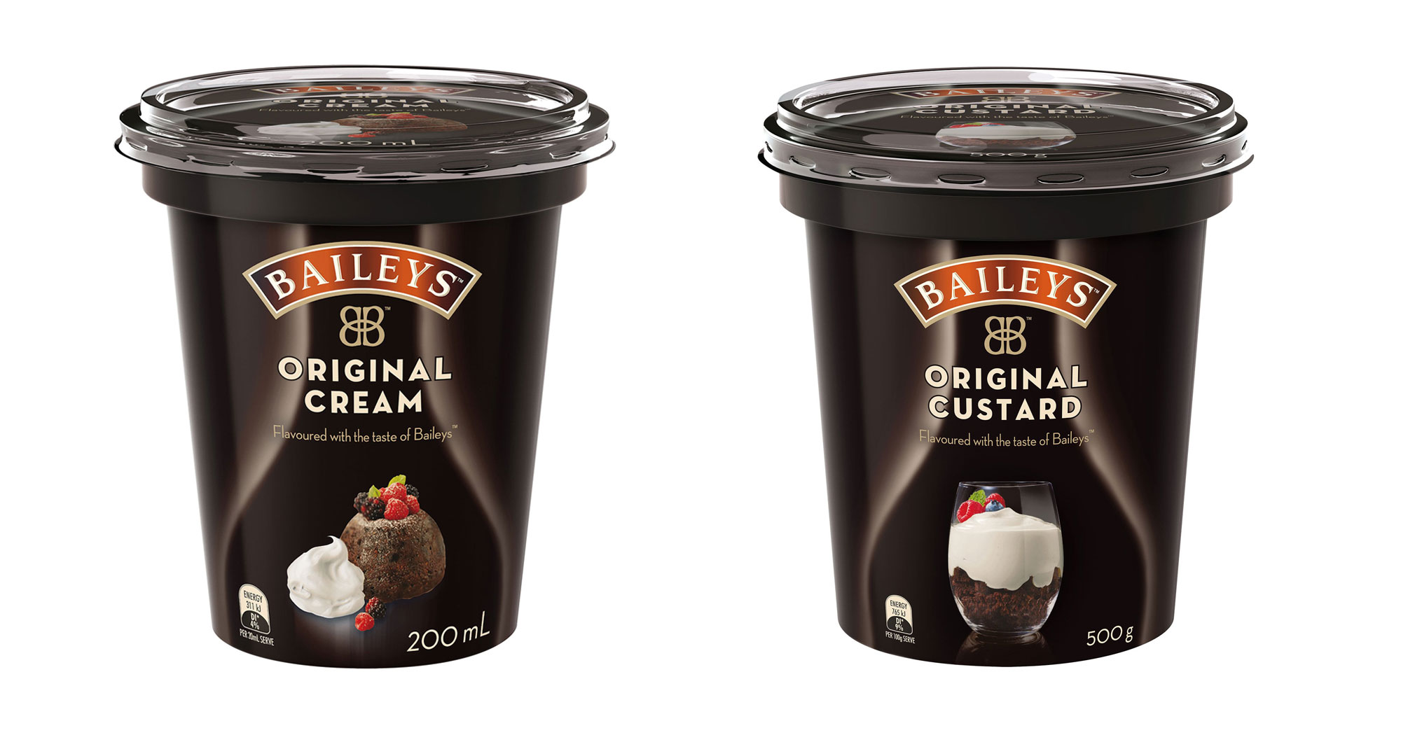 Baileys Cream Custard Tubs, FMCG, Packaging, Food styling