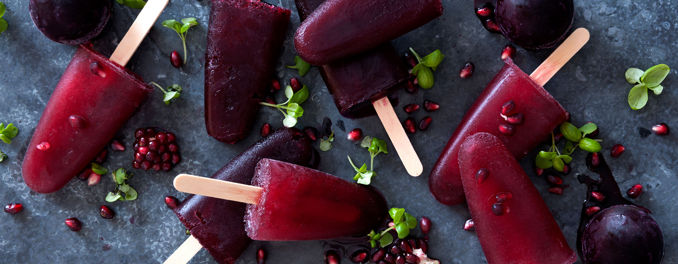 Pomegranate Ice Poles food styling - banner