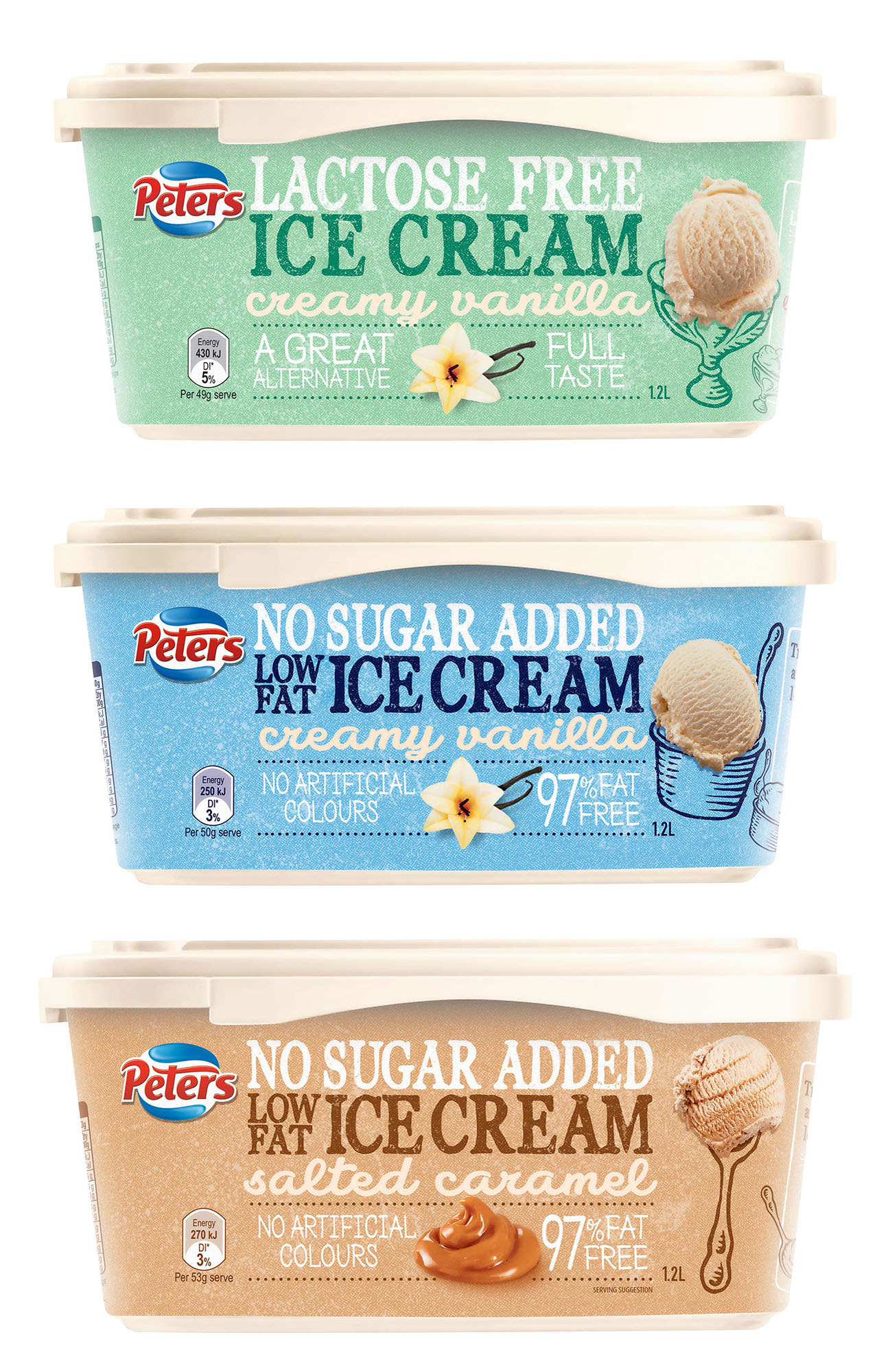 Peters Ice Cream Tubs FMCG Food styling