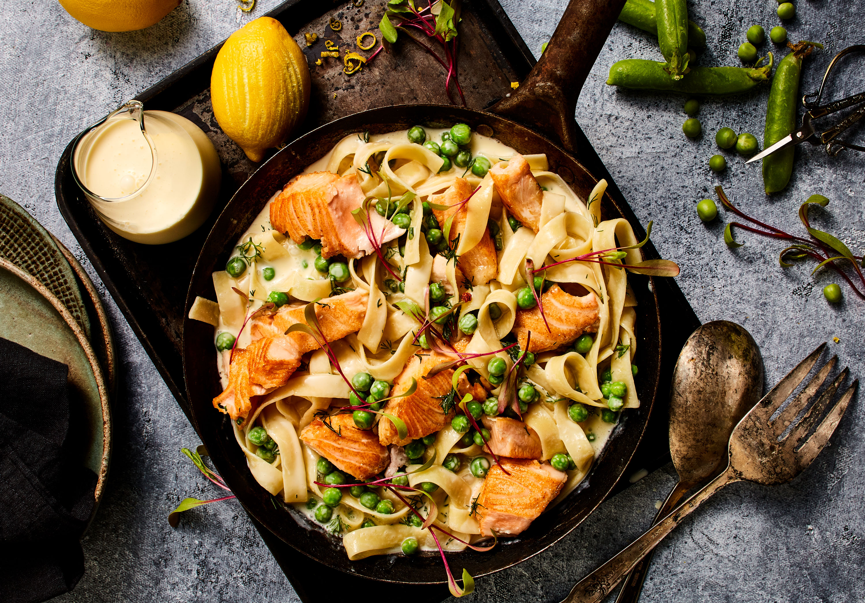 Salmon Dill Cream Sauce food styling
