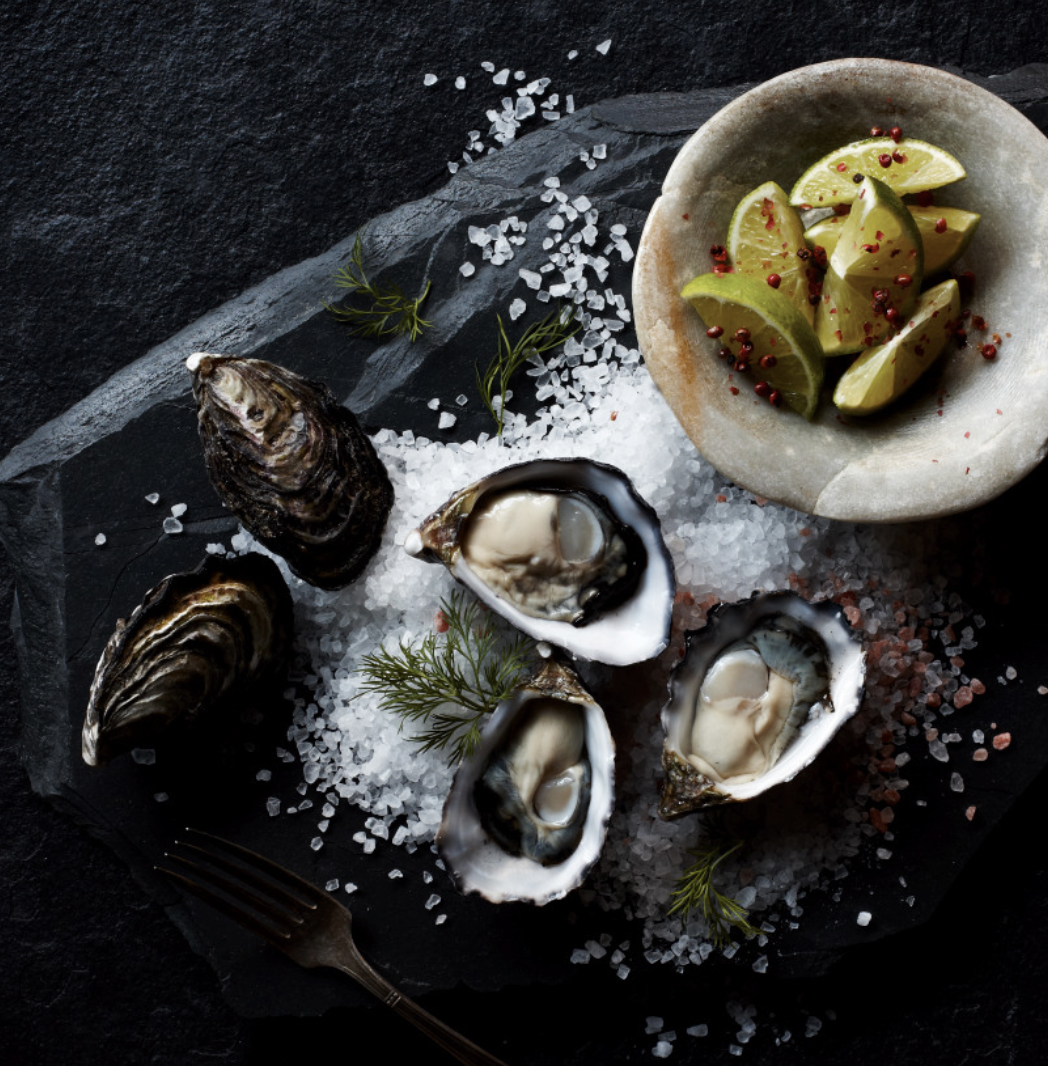 Oysters and lime food styling