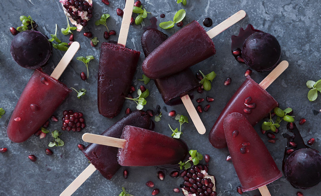 Pomegranate Ice Poles food styling